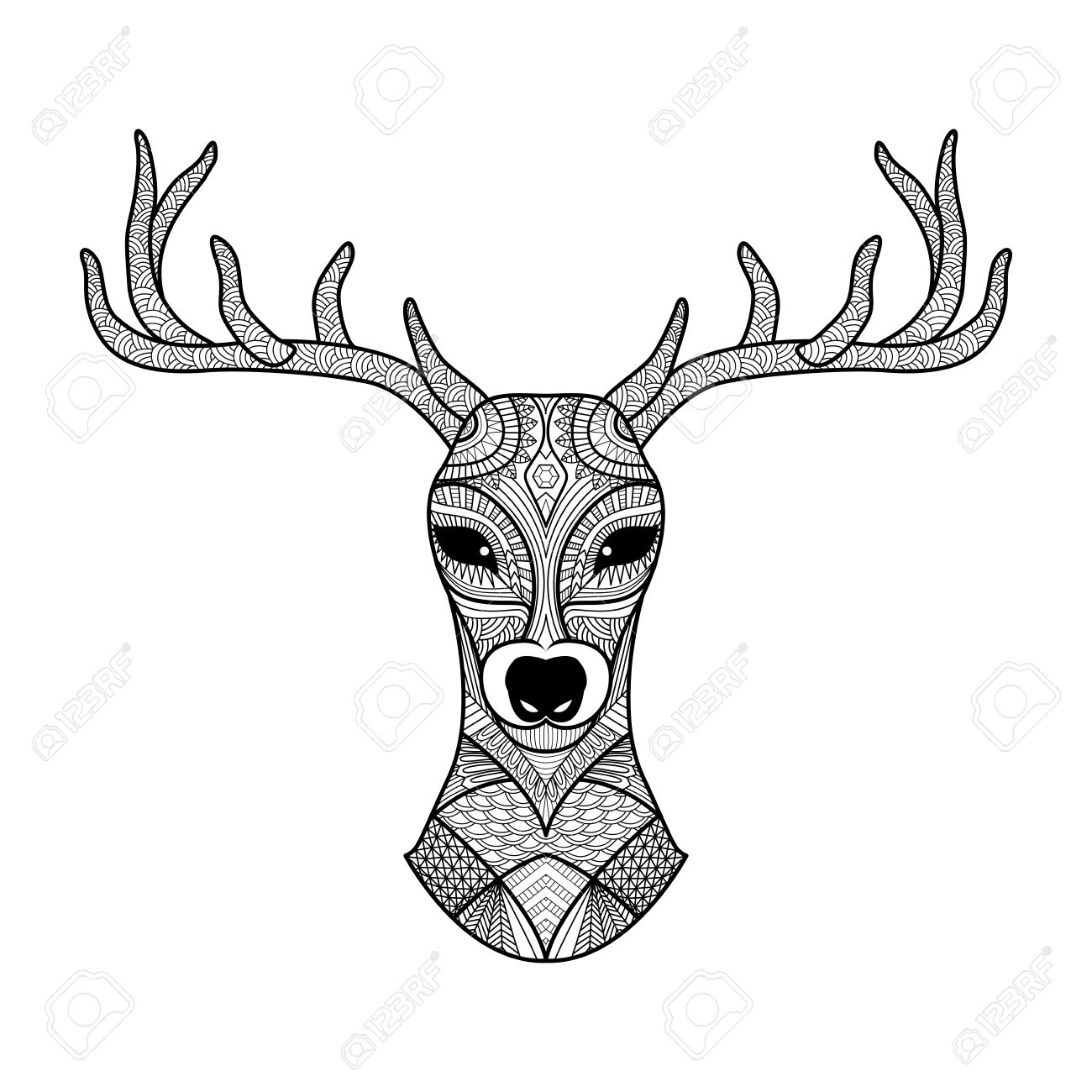 1300x1300 Deer Skull Coloring Pages