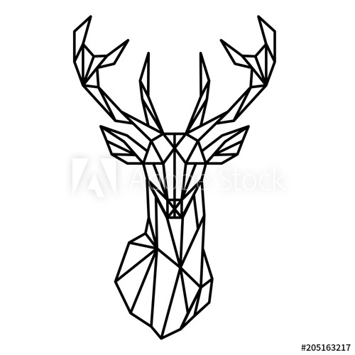 500x500 Deer Head Geometric Lines Silhouette