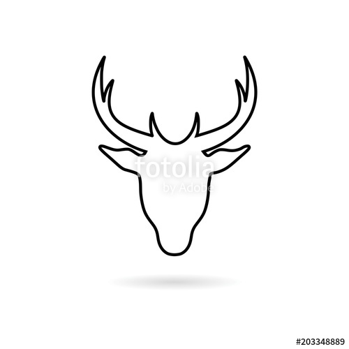 500x500 Deer Head Line Icon Stock Image And Royalty Free Vector