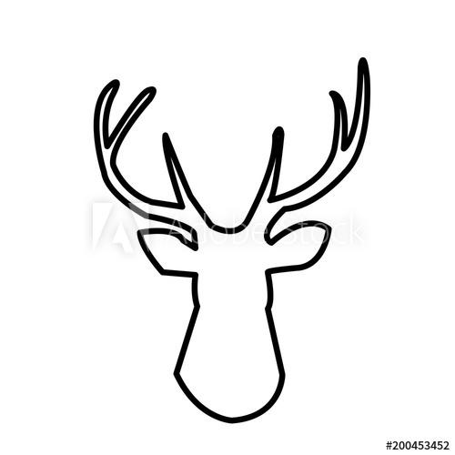 500x500 Deer Head Outline Clip Art On White Background