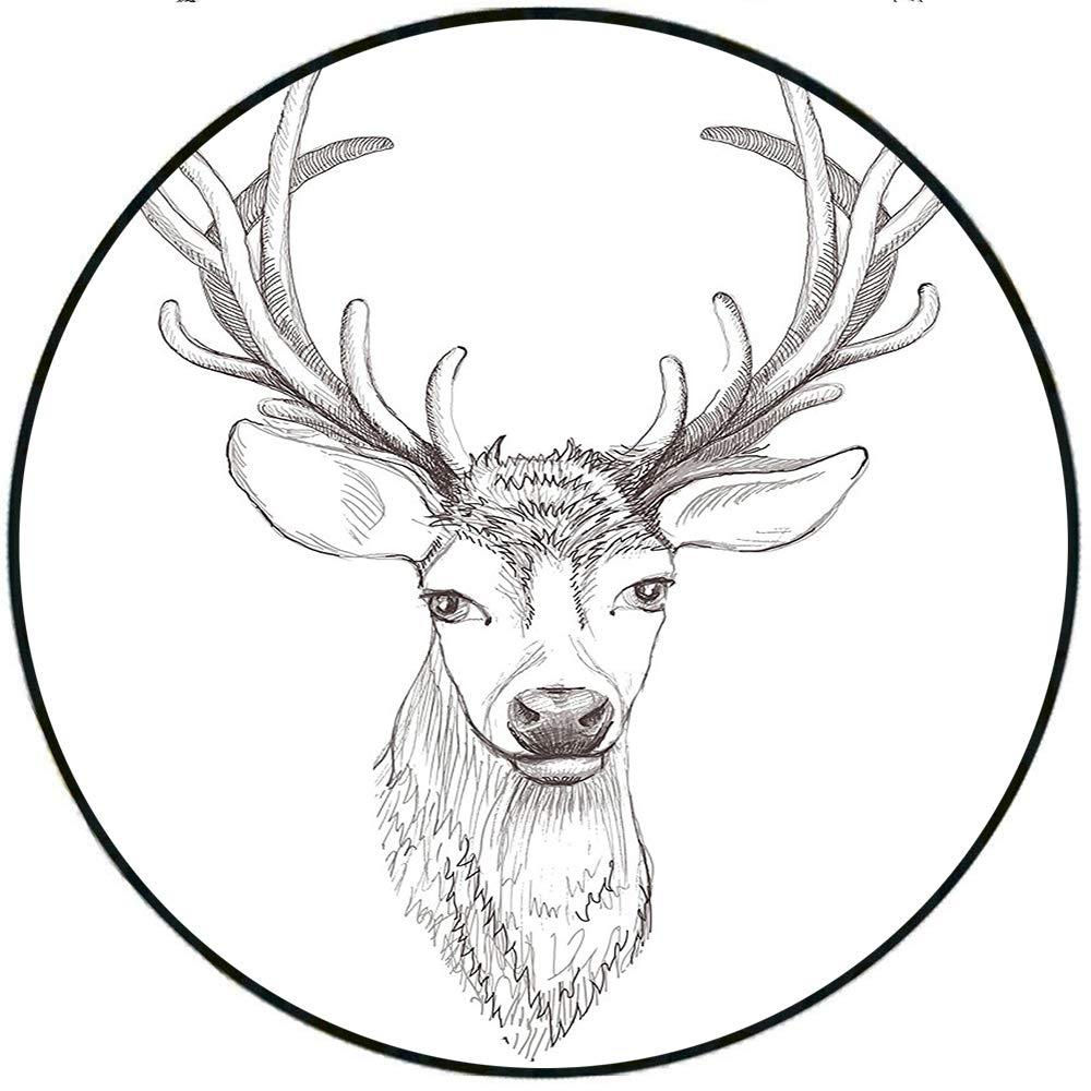 1000x1000 Short Plush Rugs Mat Sketch Of Deer Head Illustration