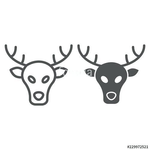 500x500 Moose Head Outline Deer Head Line And Glyph Icon Deer Vector
