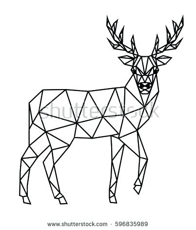 402x470 Polygonal Geometric Outline Illustration Deer Isolated Stock Head