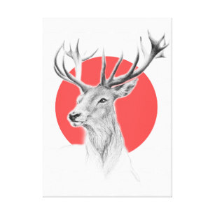 307x307 Red Deer Stag Art Wall Zazzle