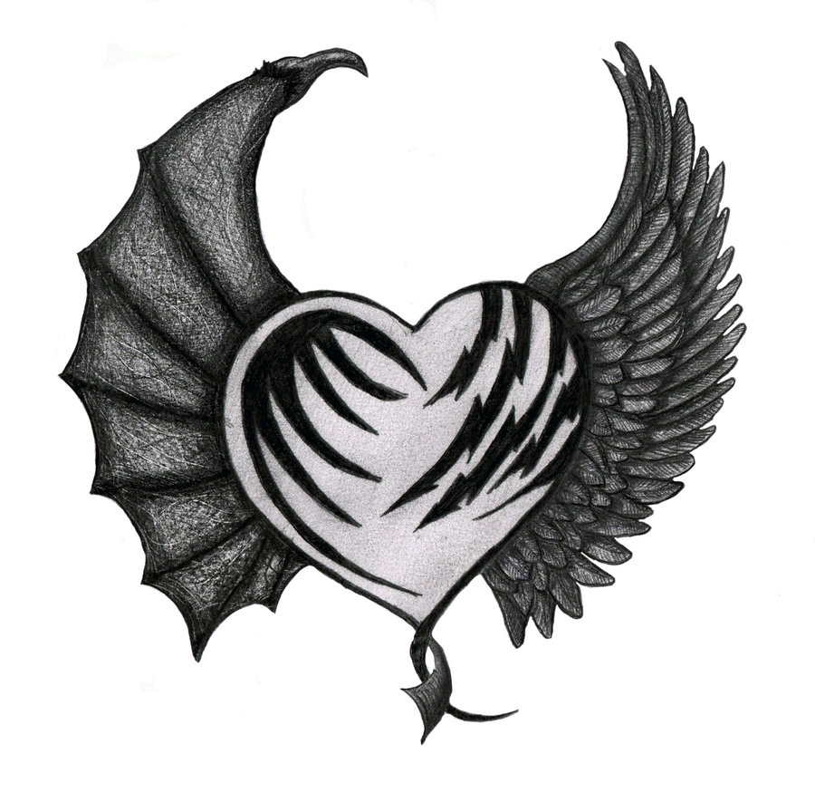 900x885 Demon Drawing Heart For Free Download