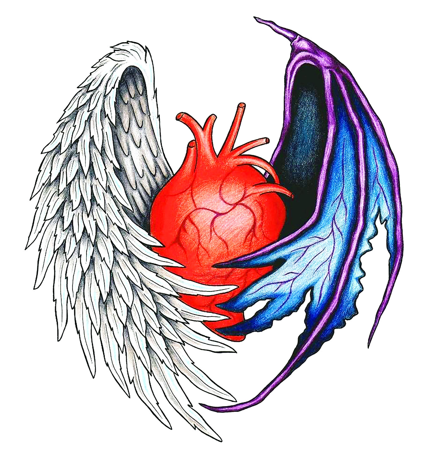 1371x1500 Heart With Angel And Demon Wings