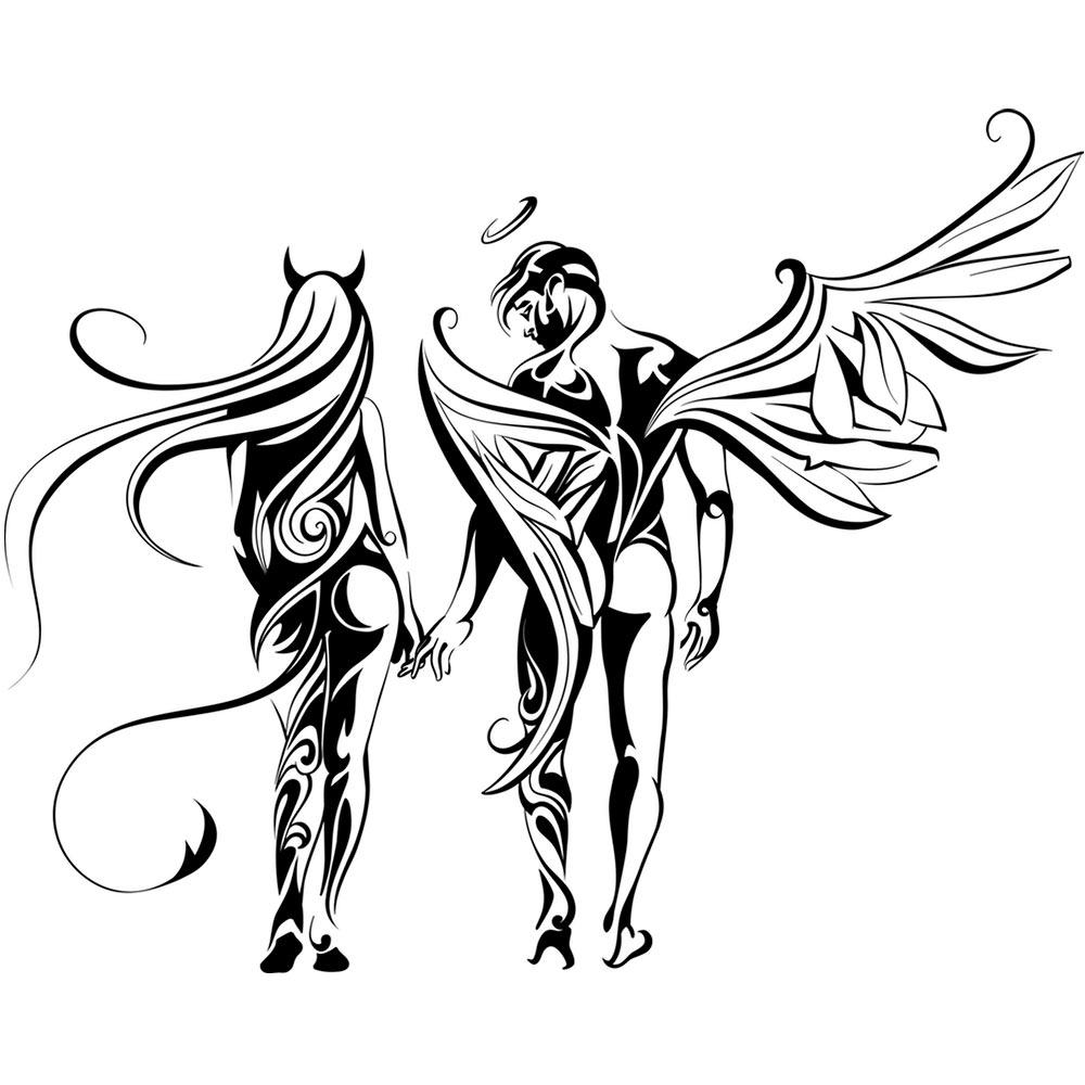 1000x1000 Angel And Demon On The Wall, Best Deals With Free Uk Standard