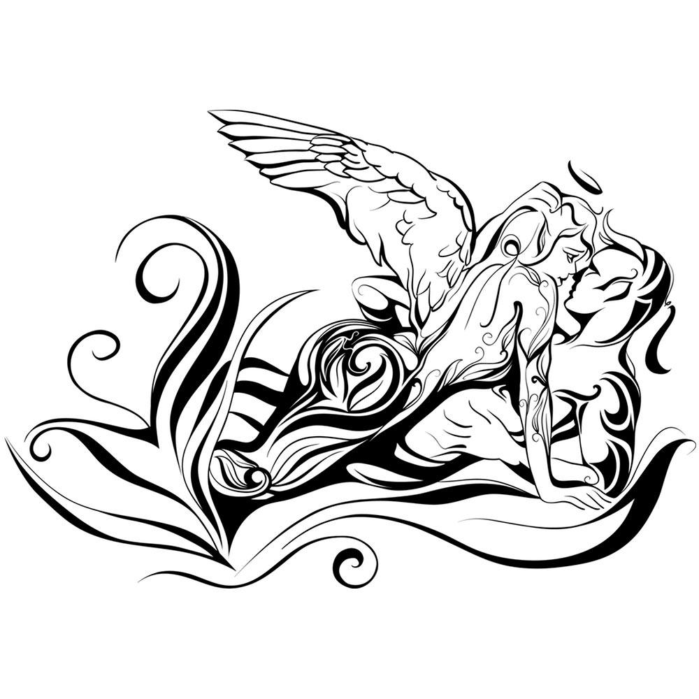 1000x1000 Angel And Demon Illustration On The Wall, Best Deals With Free Uk