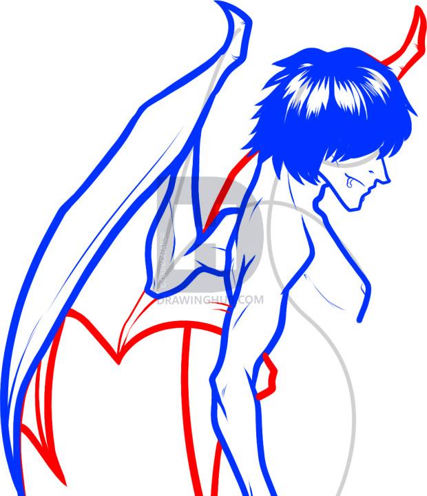 620x720 how to draw a devil boy, devil boy, demon boy, step