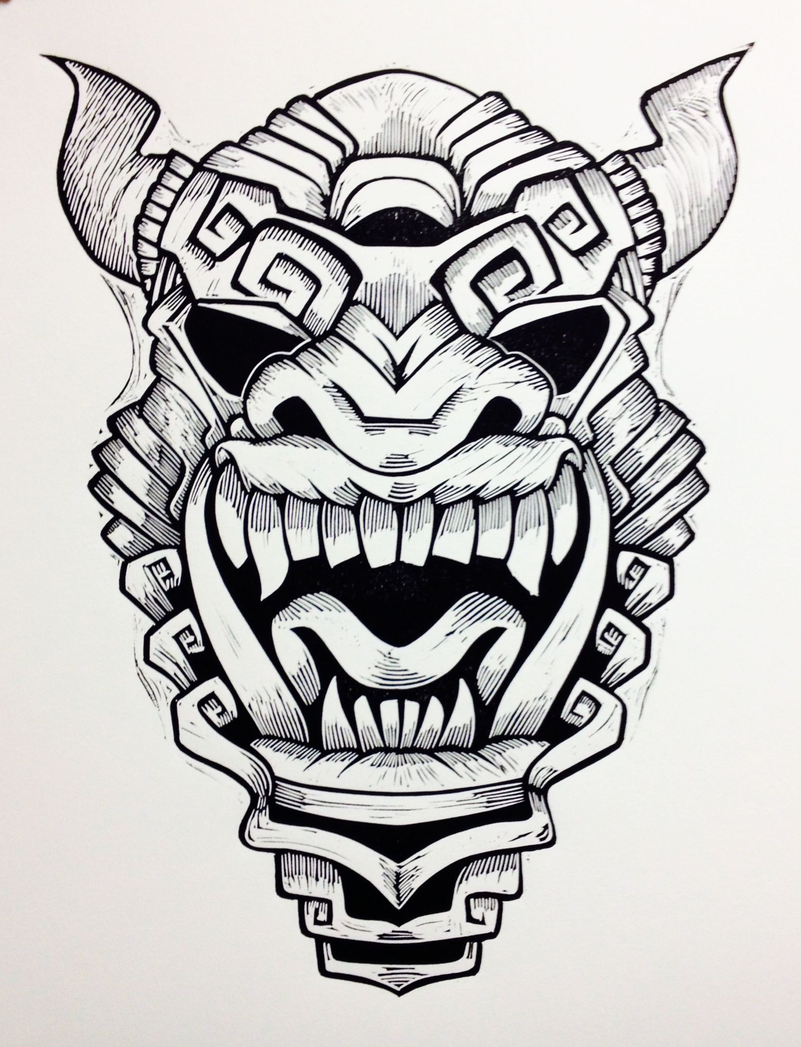 1564x2044 Demon Drawing Aztec For Free Download