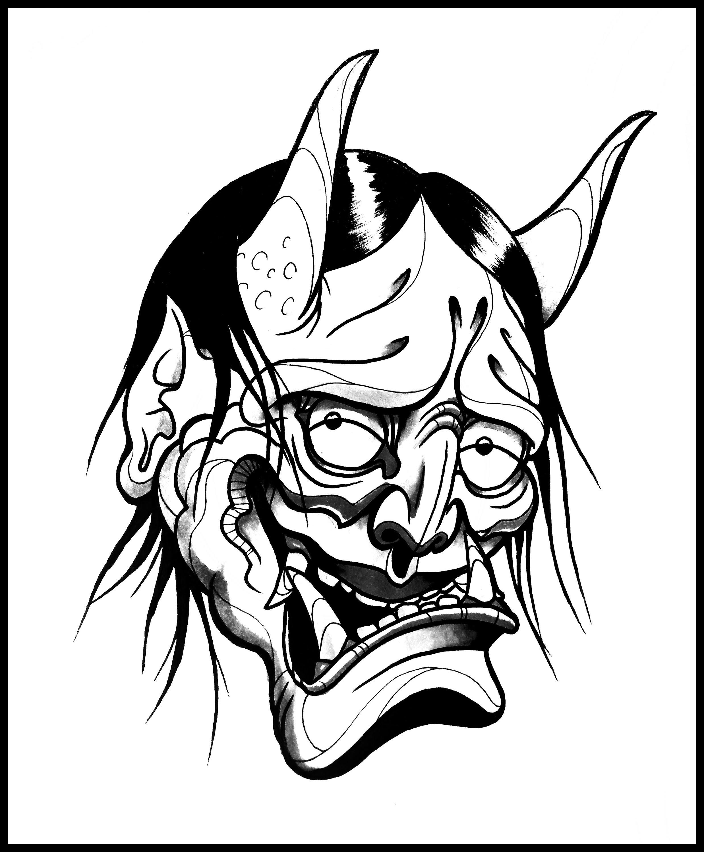 2476x3000 Japanese Oni Nebula Tattoo Designs