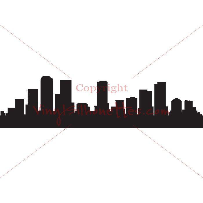 700x700 Denver Colorado Skyline Silhouette, Cityscape Wall Sticker, Vinyl