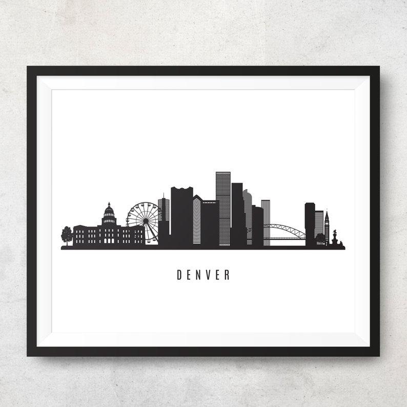 794x794 Denver Skyline Printable Denver Black White Wall Art Etsy