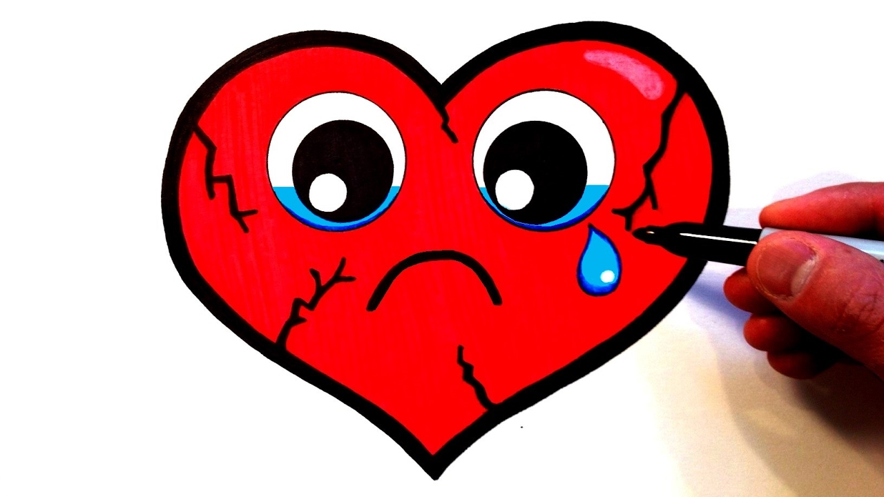 1280x720 How To Draw A Cute Sad Heart