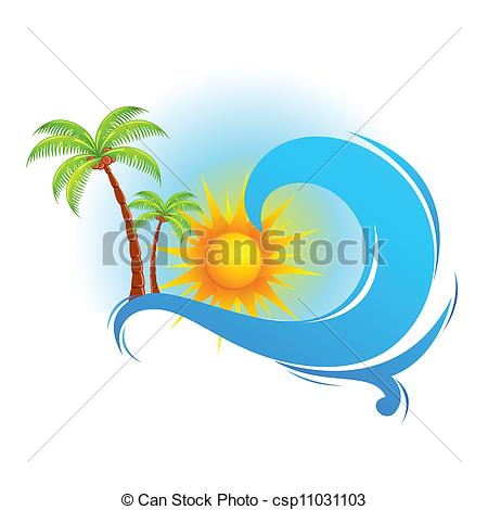 450x470 sea wave with palm tree illustration of sea wave with palm tree