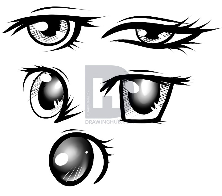 720x635 How To Draw Female Anime Eyes, Step