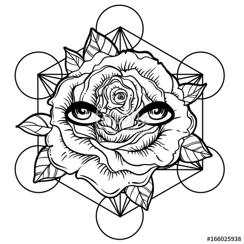 500x500 Blackwork Tattoo Flash Rose Flower, Sacred Geometry, Eyes Highly