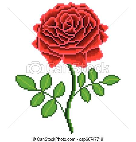 450x470 pixel red rose flower detailed isolated vector pixel art red rose