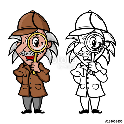 500x500 mascot detective with magnifier stock image and royalty free