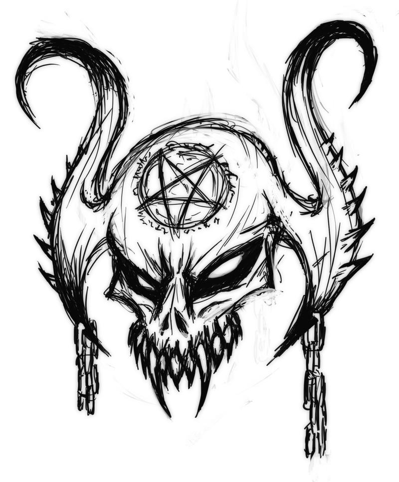 Devil Skull Drawing