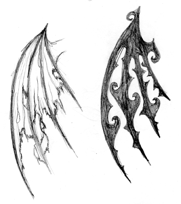 600x676 Demon Drawing Wing For Free Download