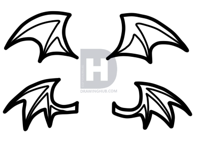 394x290 How To Draw Chibi Demon Wings, Step