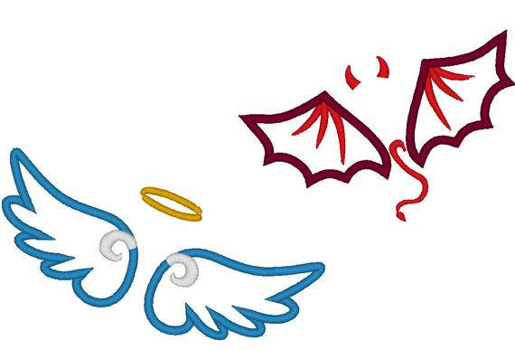 570x387 Little Angel And Little Devil Wings Applique And Fill Stitch