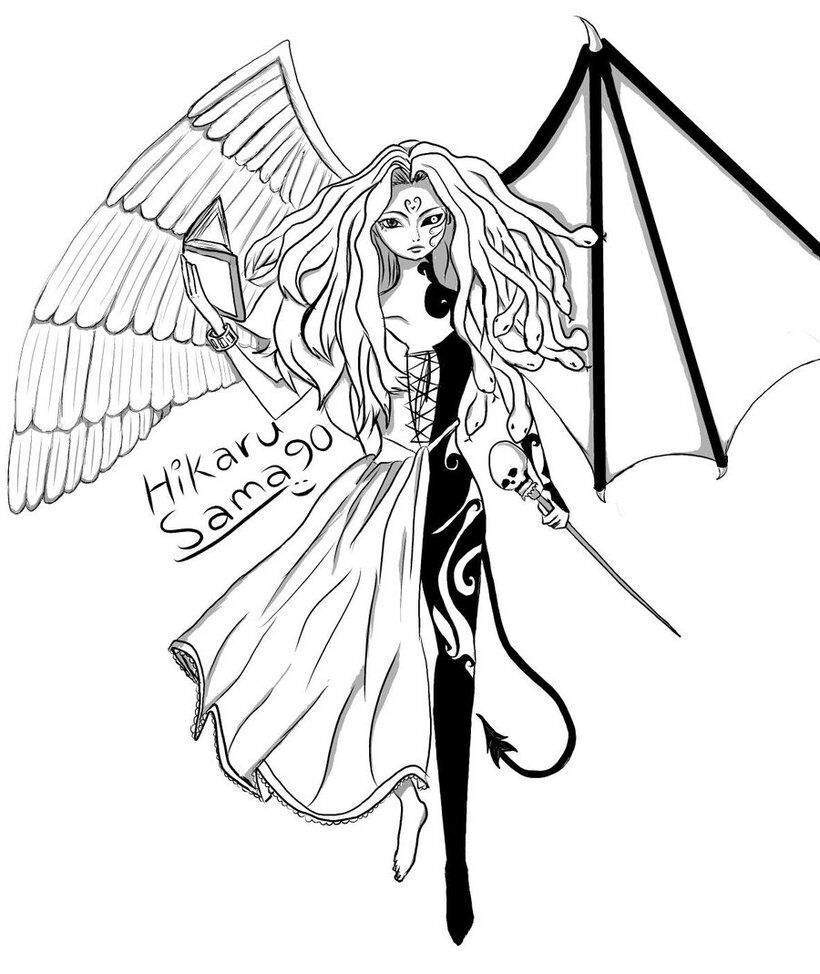 820x974 Anime Girl Demon With Wings Coloring