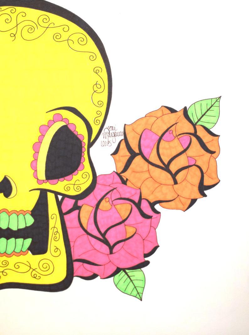 794x1066 sugar skull art day of the dead skull art yellow sugar etsy
