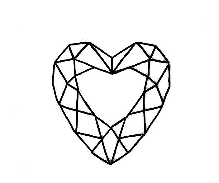 Diamond Heart Drawing