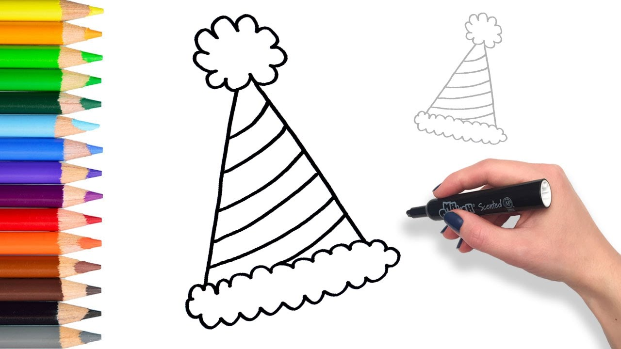 1280x720 Learn How To Draw Party Birthday Hat Teach Drawing For Kids