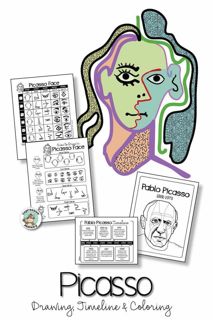 735x1102 Picasso Portrait Drawing, Timeline And Coloring Educational