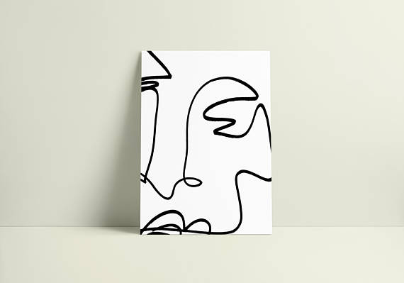 570x399 oversized blind contour line drawing digital download print