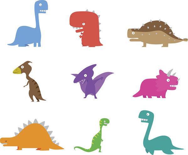 599x494 Dinosaur Cartoon Collection Art Print