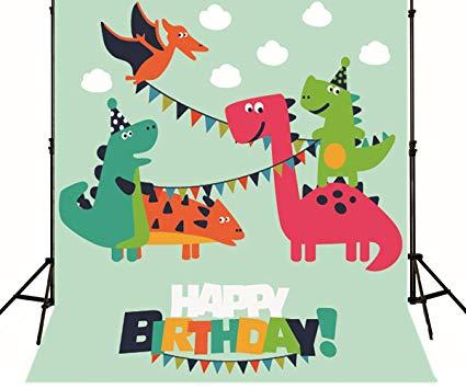 425x354 Generic Dinosaur Cartoon Birthday Backdrop Kids