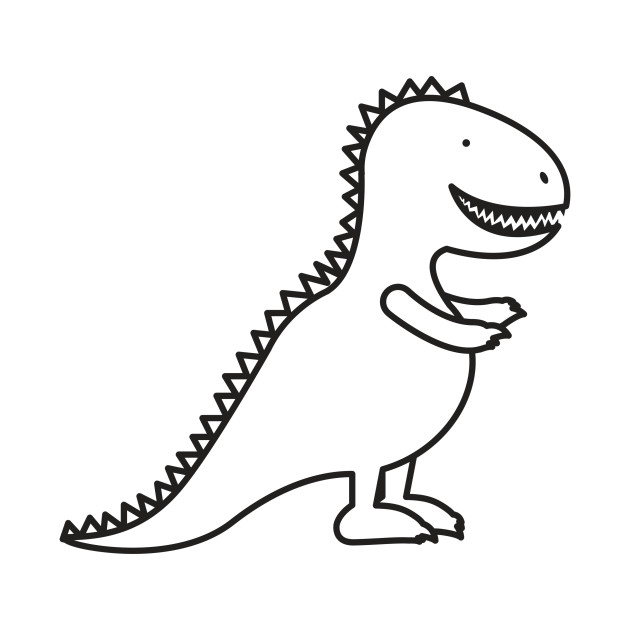 630x630 Cute Dinosaur Cartoon Outline