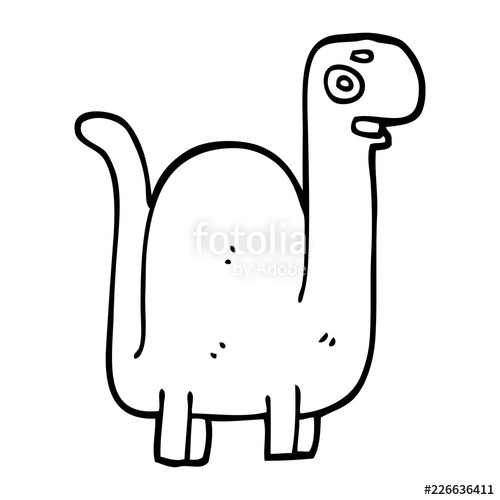 500x500 Line Drawing Cartoon Prehistoric Dinosaur Stock Image And Royalty