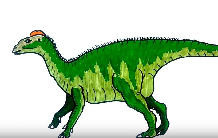 709x449 How To Draw A Edmontosaurus Dinosaur Easy Step