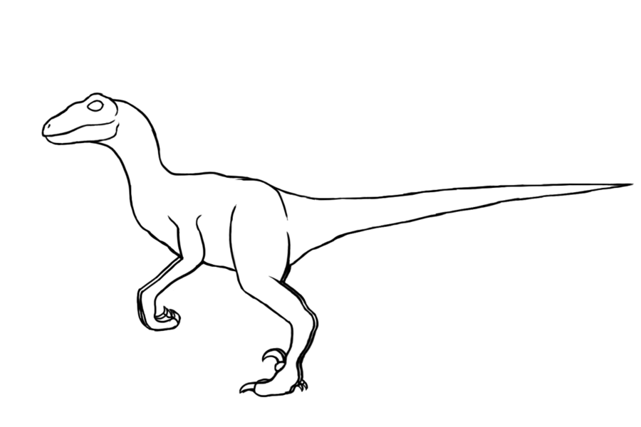 900x600 velociraptor drawing outline for free download