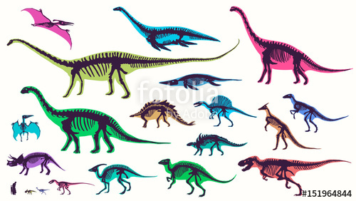 500x282 Set, Silhouettes, Dino Skeletons, Dinosaurs, Fossils Hand Drawn
