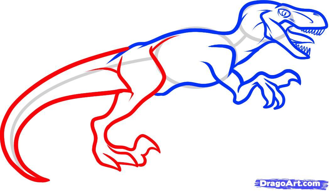 1048x611 draw a velociraptor dinosaur, step