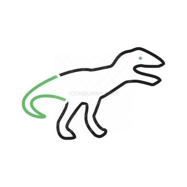 600x600 Dinosaur Line Green Black Icon