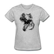 190x190 Cool Dinosaur Head Sketch Vector Pencil Drawing Women's T Shirt