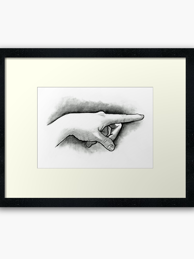 750x1000 Hand With Pointing Finger, Pencil And Charcoal Drawing Framed Art