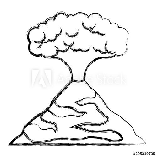 500x500 erupting volcano natural disaster vector illustration design