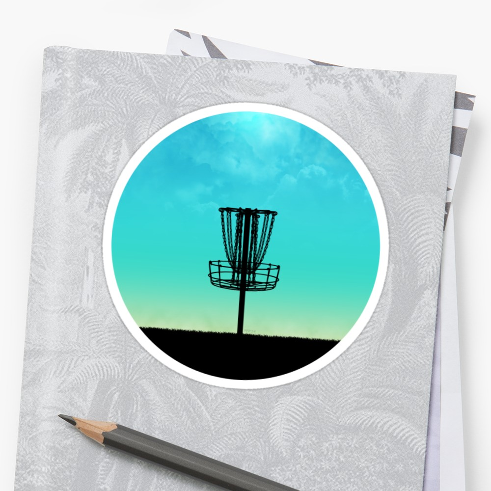 1000x1000 Disc Golf Basket Silhouette Sticker