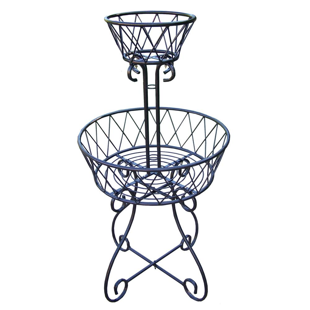 1000x1000 Tier Basket Metal Planter Bk