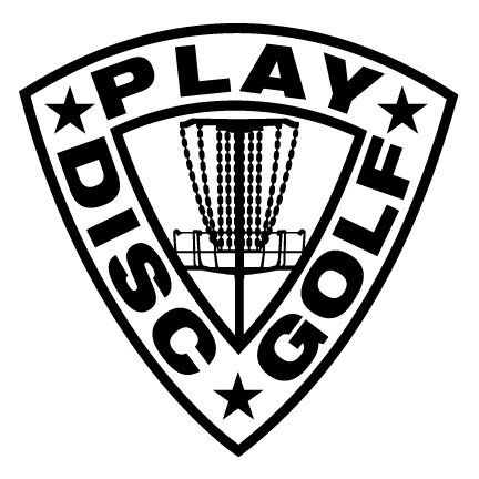 432x432 Play Disc Golf Shield Decal With Mach Basket Detail