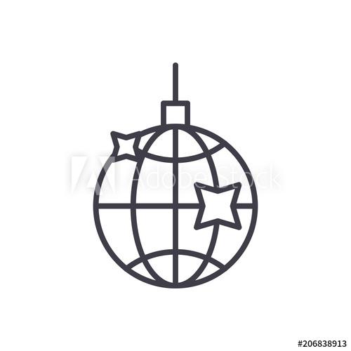 500x500 Disco Ball Black Icon Concept Disco Ball Flat Vector Symbol, Sign