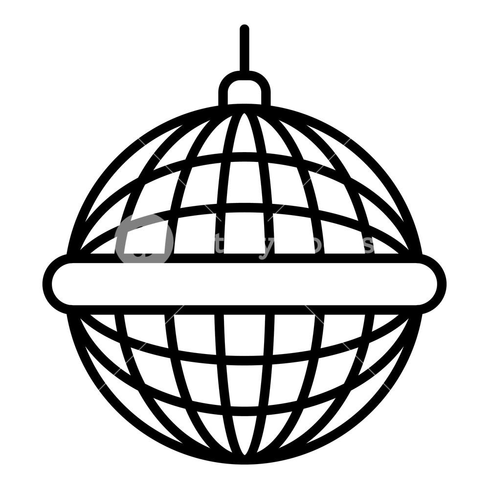 1000x1000 Disco Mirror Ball Icon Outline Disco Mirror Ball Vector Icon
